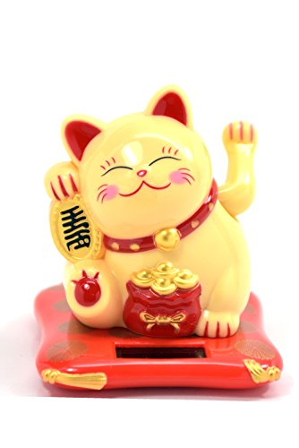 Feng Shui Maneki Neko Fortune Cat Lucky Cat Waving Arm, Solar Powered...