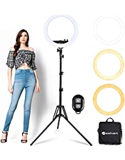 Ring Light with Tripod Stand Yesker 14 Inch Led Ringlight Kit with Phone Holder Adjustable Color Temperature Circle Lighting for Camera for Vlog, Makeup, Video Shooting