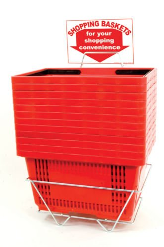 Case of 12 New Retails Red Jumbo-Size Shopping Baskets with Plastic Handles by TISupplies