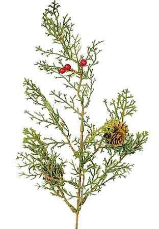 Group of 12 Classic Artificial Pine Cone and Berry Cedar Spray for Christmas Holiday Centerpieces, Wreaths and Decorating ()