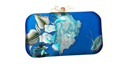Sac Soirée Femme Main Bleu 302 Pochette Fait Broderie 100 Oriental d'Art Royal à Main AxnUwHE