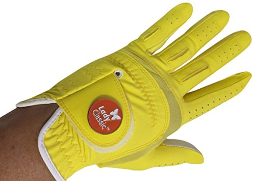 Yellow Womens Golf Glove - Lady Classic Women's Soft Flex Gloves with Magnetic Ball Marker, Left Hand, Yellow, Medium