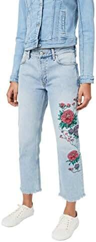 Mango Women's Dalia Embroidered Straight Jeans