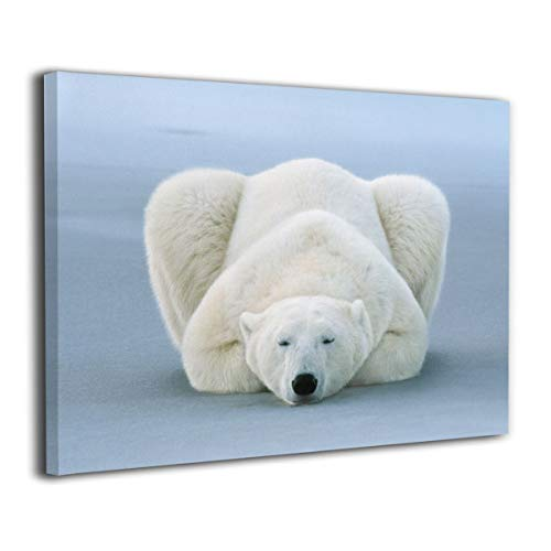 LP ART Canvas Print Wall Art Polar Bear Sleeping Picture Painting for Living Room Bedroom Modern Home Decor Ready to Hang Stretched and Framed Artwork 16''x20''