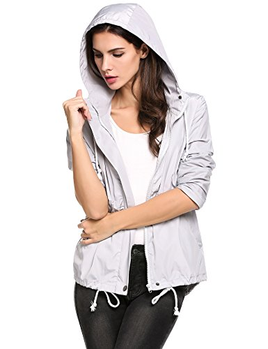 Zeagoo Women's Lightweight Waterproof Rain Coat Hooded Active Outdoor Windbreaker Jacket,Large,Gray by Zeagoo