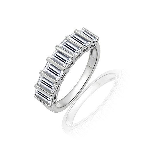 (Diamonbliss Sterling Silver Cubic Zirconia Baguette Band Ring- Size 8)