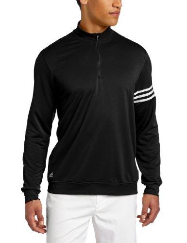 adidas Golf Men's's Climalite 3-Stripes Pullover, Black/White, - Golf Neck Mock Adidas