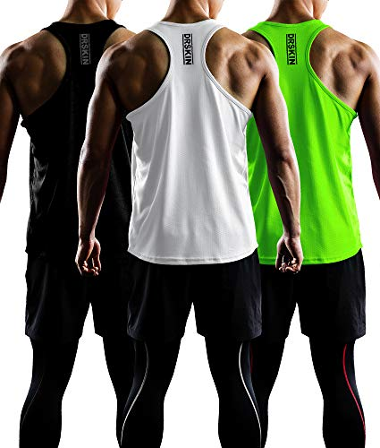 (DRSKIN Men's 3 Pack Dry Fit Y-Back Gym Muscle Tank Mesh Sleeveless Top Fitness Training Cool Dry Athletic Workout (BTF-ME-TA-(B,W,LG), XL) )