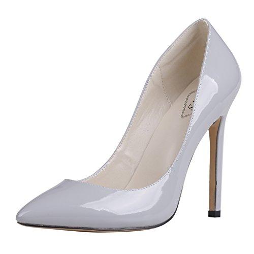 EKS - Merceditas de tacón alto Mujer Gris - Grau-Lackleder