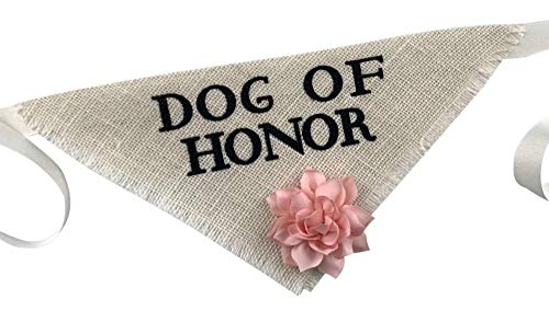 - Hello Hazel Company Dog of Honor Wedding Pet Bandana with Blush Satin Flower
