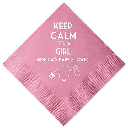 - Personalized Baby Shower Cocktail Napkins - Keep Calm It's a Girl - Custom Cocktail Napkins - Baby Shower Decor