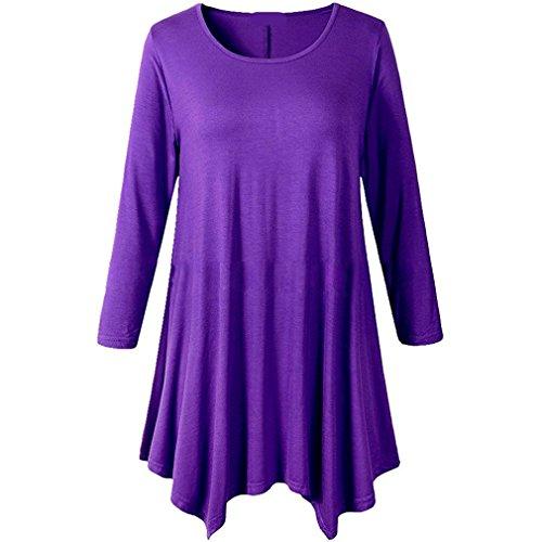 符号病透明にHonghu女性プラスサイズ不規則な裾のロングスリーブルーズシャツチュニックトップス パープル L