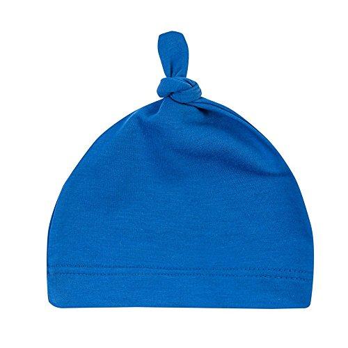 Menglihua Unisex Newborn Toddler Infant Cotton Soft Cute Lovely Adjustable Knot Hat Blue One Size (Handprint Santa)