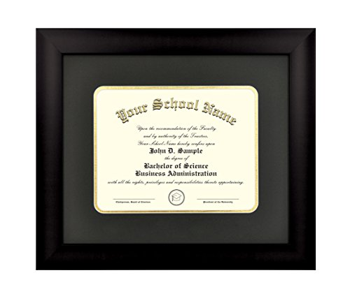 Celebration Frames Matte Black Finish Infinity Diploma Frame (fits 11 x 14 Document) with Black and Gold Mats
