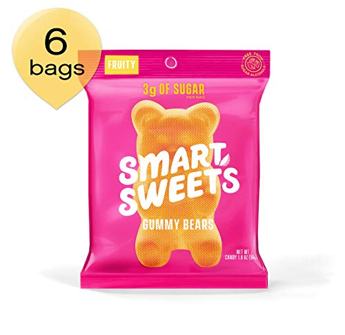 SmartSweets Low Sugar Gummy Bears Candy Fruity 1.8 oz bags (box of 6), Free of Sugar Alcohols and No Artificial Sweeteners Sweetened with Stevia, Natural Fruit Flavors (Box Sweet Candy)
