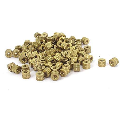 uxcell M3x4mm Threaded Round Metal Knurl Thread Insert Nuts Brass Tone 100Pcs