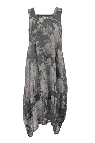 Grey Italian Womens Sleeveless Dress Ladies Dark Size Linen Lagenlook Long Midi One Neck Floral Square T6Sfqw5