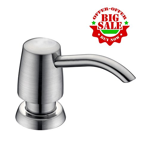 GICASA Commercial Built In Deck Mount Brushed Nickel Pump Liquid Lotion Kitchen Countertop Soap Dispenser, with 320ml Bottle - Brushed Nickel Deck