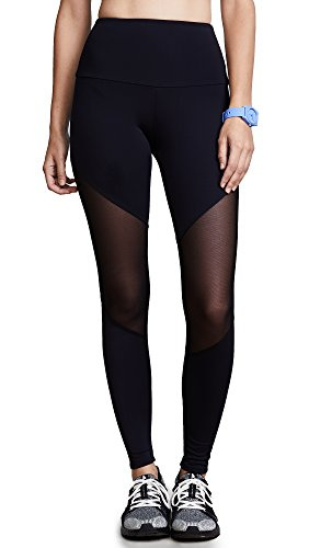 Onzie Women's High Rise Track Legging, Black/Black Mesh, M/L