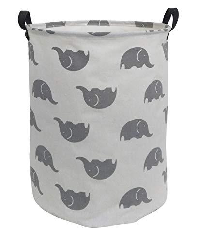 ESSME Laundry Hamper,Collapsible Canvas Waterproof Storage Bin for Kids, Nursery Hamper,Gift Baskets,Home Organizer (Grey Elephant)