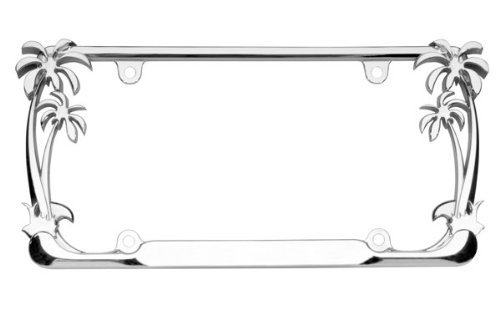 (Cruiser Accessories 19003 Palm Tree License Plate Frame, Chrome)