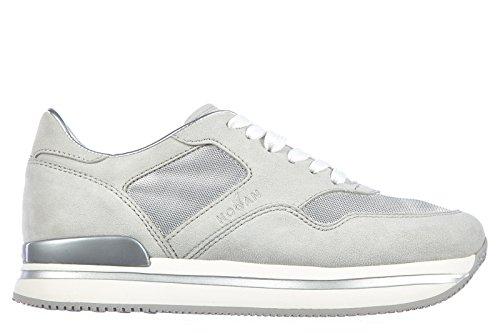 Hogan chaussures baskets sneakers femme en daim h222 allacciato gris