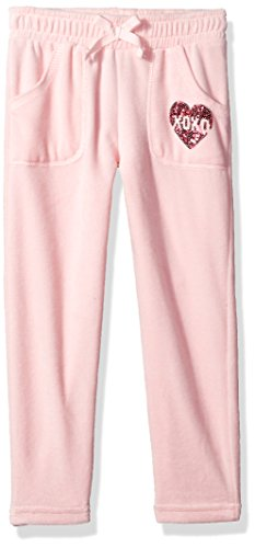 XOXO Little Girls' Velour Pant, Rose Quartz, 6X (Girls Velour Pants)