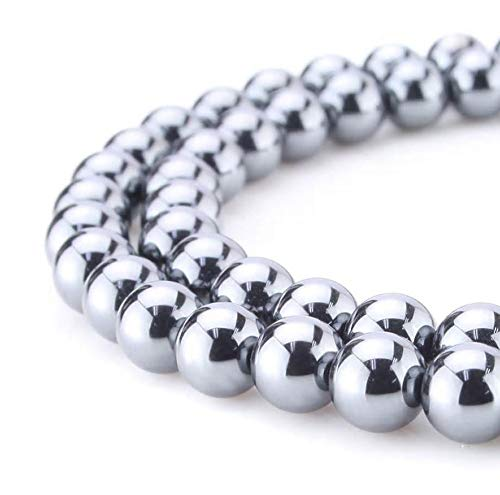 Chips Gemstone Bead Silver Necklace (2 strands x Top Quality Hematite Silver Plated Gemstone Loose Beads 6mm Round Spacer Beads (~15.5
