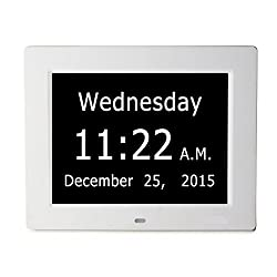 Upgraded - ESH Extra-Large Memory Loss Digital Calendar Day Clock with With Full Day & Month Spelling No Abbreviations Great For Impaired Vision (White)