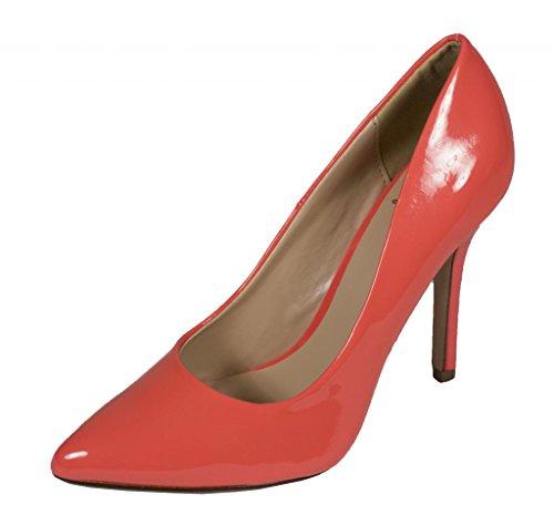 Datum! Kvinna Mode Spetsig Tå Stilett Klänning Pump Lax Patentläder