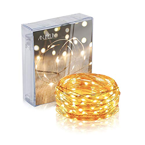 ANJAYLIA LED String Lights, 16.5Ft/5M 50leds Battery Operated Fairy Lights for Garden Home Party Wedding Festival Decorations(Warm White)