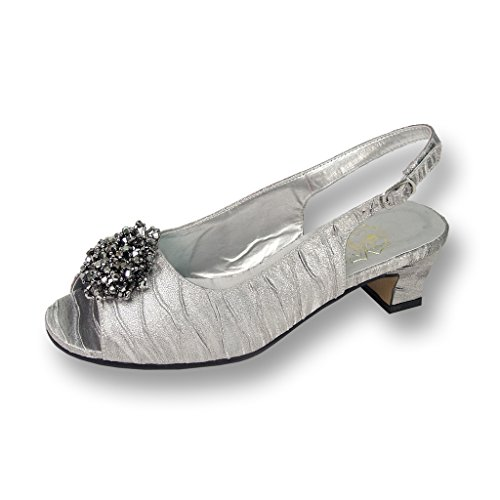 FIC Floral Robin Women Wide Width Pleated Fabric Silver Pump 9 (Sexy Pleated Pump Heel)