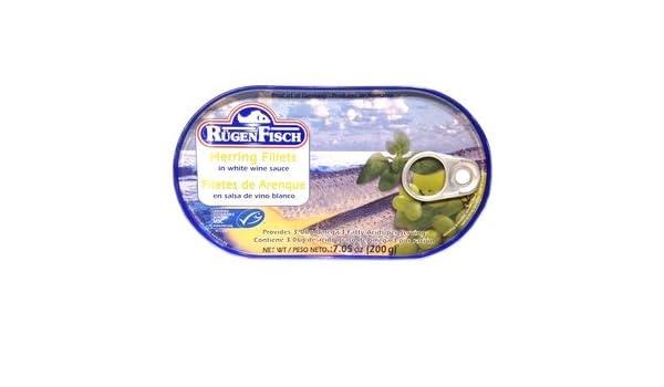 Amazon.com : Rugen Fisch Flletes De Arenque En Salsa De Vino Blanco (Herring Fillets In White Wine Sauce) - 7.05oz : Grocery & Gourmet Food