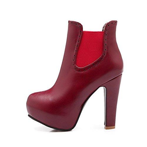 AllhqFashion Mujeres Sin cordones Tacón Grueso Caña Baja Sólido Puntera Redonda Botas Rojo