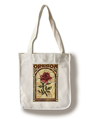 Lantern Press Oregon - Rose Stained Glass (100% Cotton Tote Bag - Reusable)
