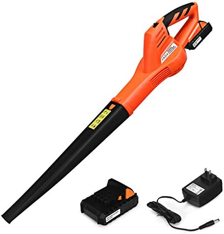 Goplus Cordless Leaf Blower, Rechargeable Leaf Sweeper w Lithium Battery and Charger, Handheld 130MPH Output Orange