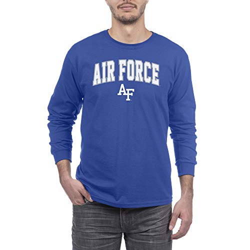 Elite Fan Air Force Falcons Men's Long Sleeve Arch Tee Shirt, Royal, X Large (United States Air Force Academy Colors Blue)