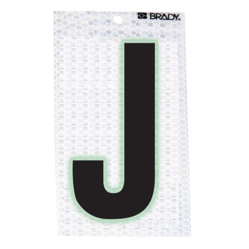 Brady 3020-J, 105591 Glow-In-The-Dark/Ultra Reflective Letter - J, 15 Packs of 10 pcs