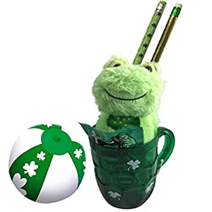 St Patricks Day Light Up Mug Gift Set with Lucky Frog, Shamrock Party Ball, Pencils and Dark Chocolate Mint M&Ms
