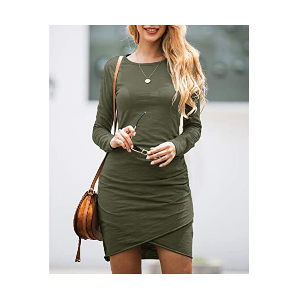 Fashion Ruched Elegant Bodycon Long Sleeve Wrap Front Solid Color Casual Basic Fitted Short Dress