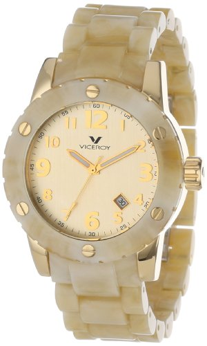 Amazon.com: Viceroy Mens 47668-95 Carey Yellow Gold Ion-Plated Stainless Steel Beige Plastic Bracelet Date Watch: Watches