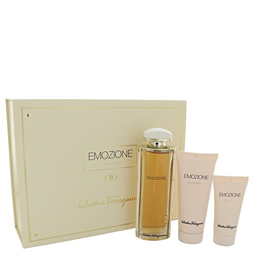 (Emozïone by Sälvätorë Fërrägamö Perfumé For Women Gift Set- 3.1 oz Eau De Parfum Spray + 1.7 oz Body Lotion + 3.4 oz Shower Gel)