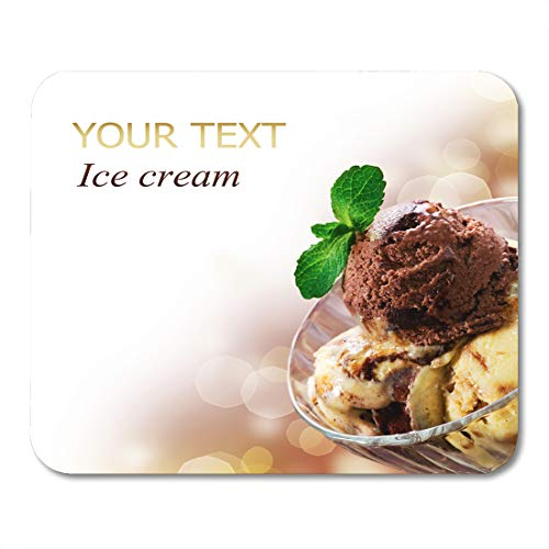 (Boszina Mouse Pads Brown Food Yellow Icecream Ice Cream White Dessert Scoop Mouse Pad for notebooks,Desktop Computers mats 9.5