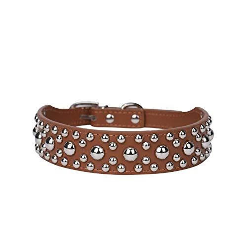 - cola-site Adjustable Leather Rivet Spiked Studded Pet Puppy Dog Collar Neck Strap,As Shown2,L