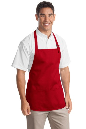 Port Authority novelty-and-special-use Medium Length Apron with Pouch OSFA Red