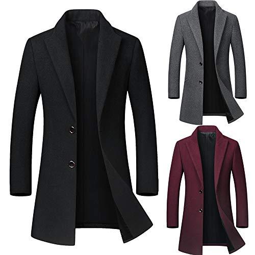 Blazer Pardessus Noir Manteau Manteaux Vintage coat Chaud Couleur Homme Trench Unie Slim Bouton Veste Longue Blouson Winjin Section Costume Manche Hv0RwZ