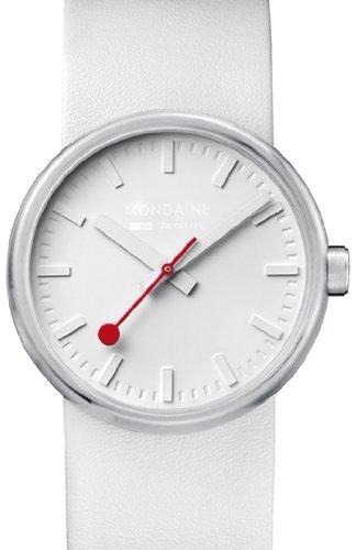 Mondaine 'SBB' Quartz Stainless Steel and Leather Casual Watch, Color:White (Model: A658.30306.16SBA) - Mondaine Quartz