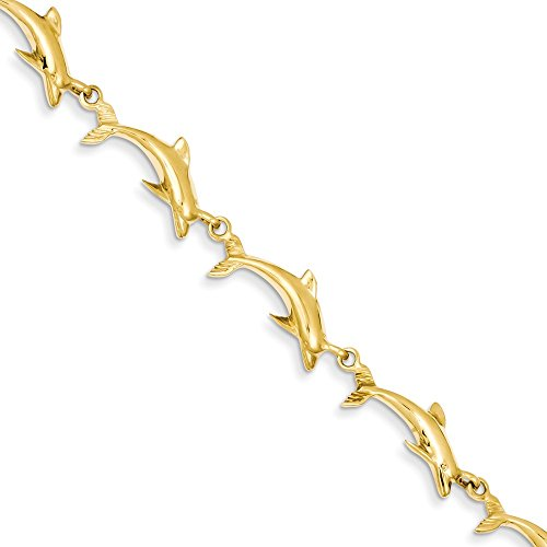 (FB Jewels Solid 14K Yellow Gold Polished Dolphin Bracelet)