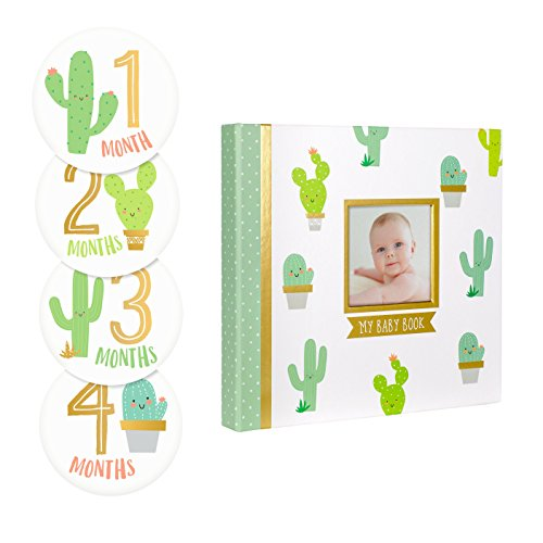 Pearhead Cactus Plant Baby Memory Book with Included Baby Belly Stickers, Baby Shower Gift, A Great Baby Registry Addition, Trendy Baby Gift, White / Green / Cactus