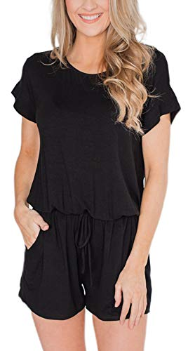 Swiland Women's Casual Short Sleeve Summer Loose Jumpsuit Rompers with Pockets Elastic Waist Playsuit Black,XL